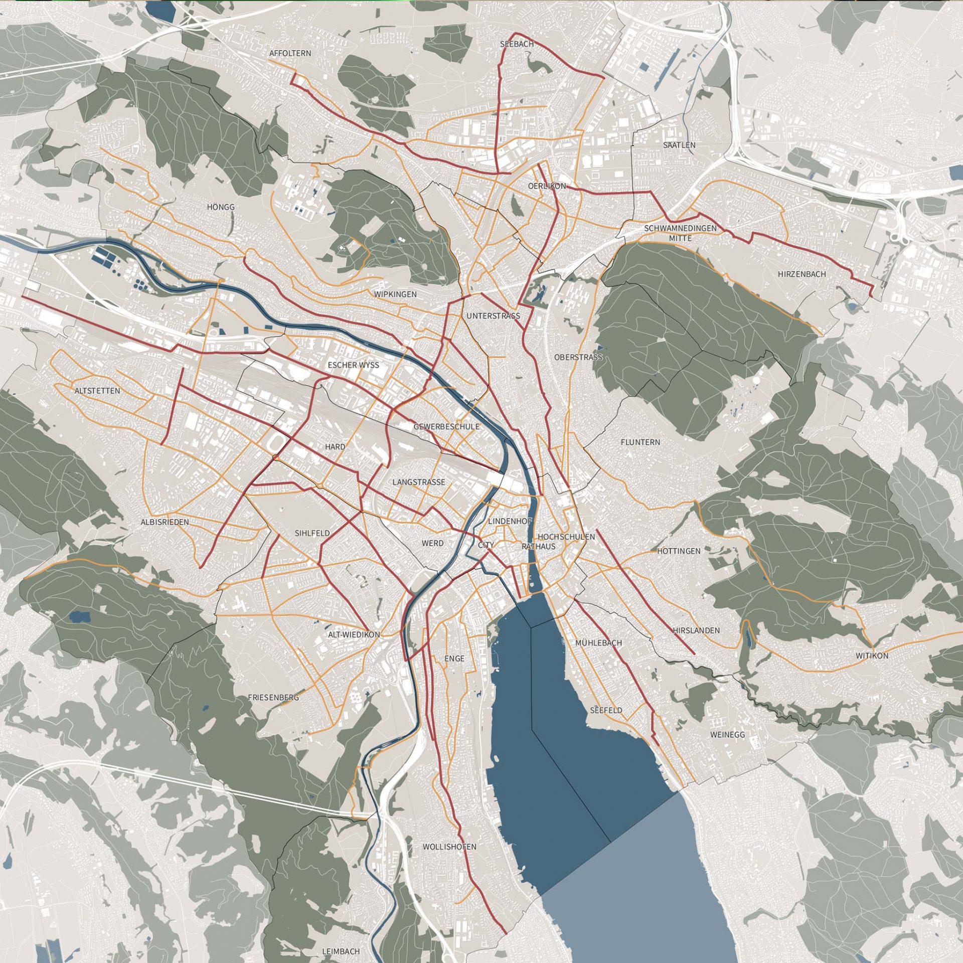 Karte Velorouten-Initiative