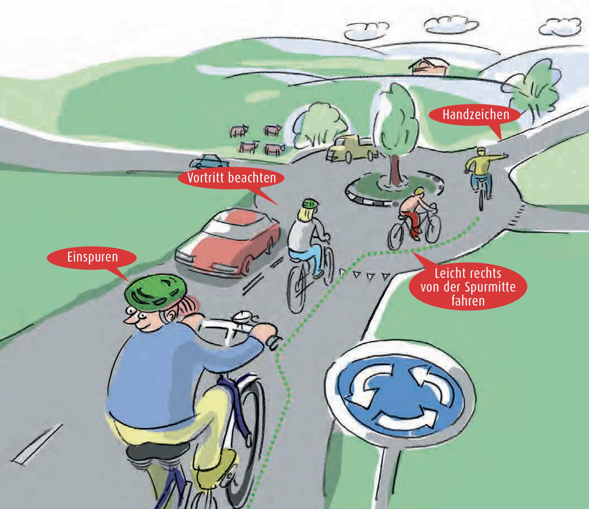 Achtung Kreisel: Velo im Kreisverkehr.