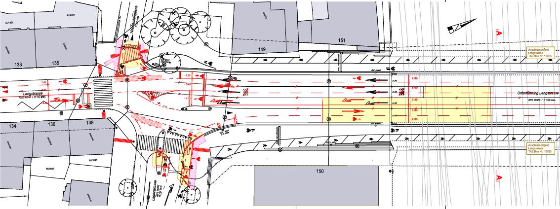 Projektplan Langstrasse / Lagerstrasse in Zürich