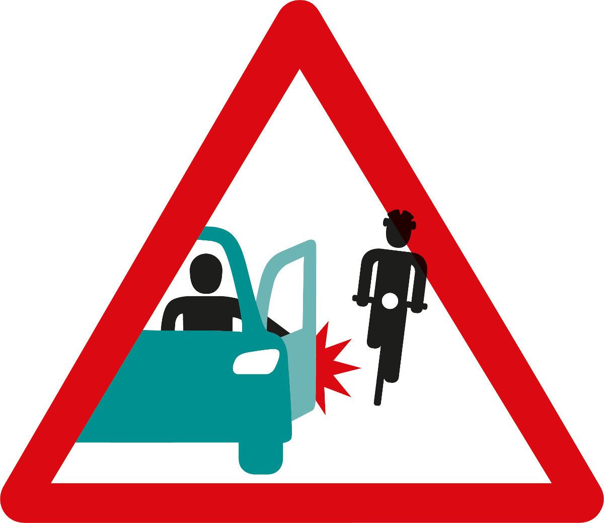 Dooring: Achtung Autotüre kann zu Velounfall führen.