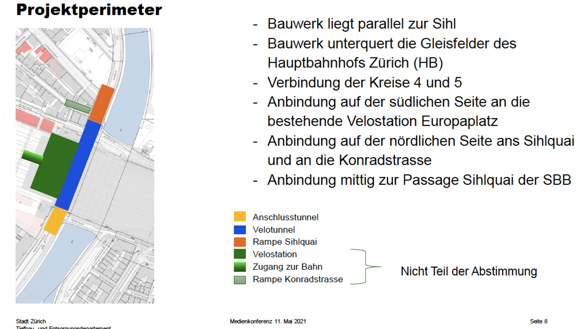 Plan vom Velotunnel am HB Zürich