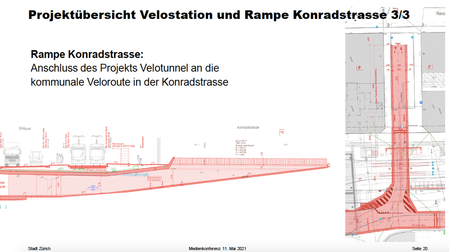 Plan vom Velotunnel am HB Zürich: Rampe Konradstrasse
